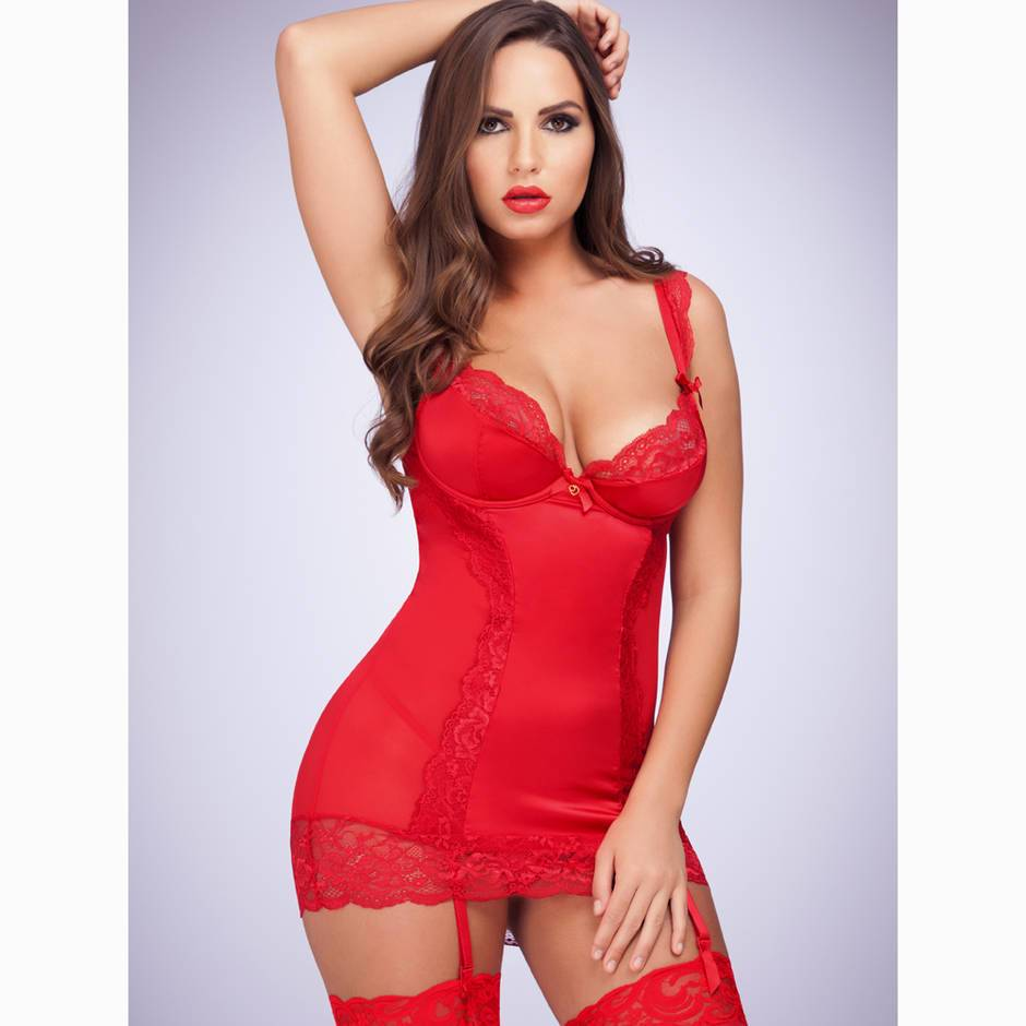 Lovehoney Treasure Me Red Underwired Chemise Set