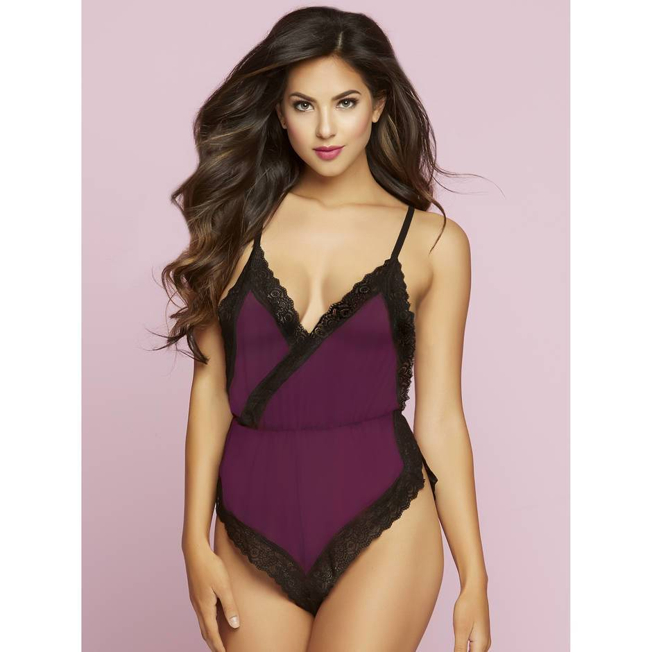 Seven 'til Midnight Lace Trim Side Split Teddy