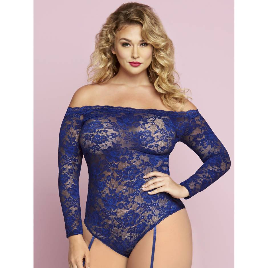 Seven 'til Midnight Plus Size Off The Shoulder Blue Lace Suspender Body