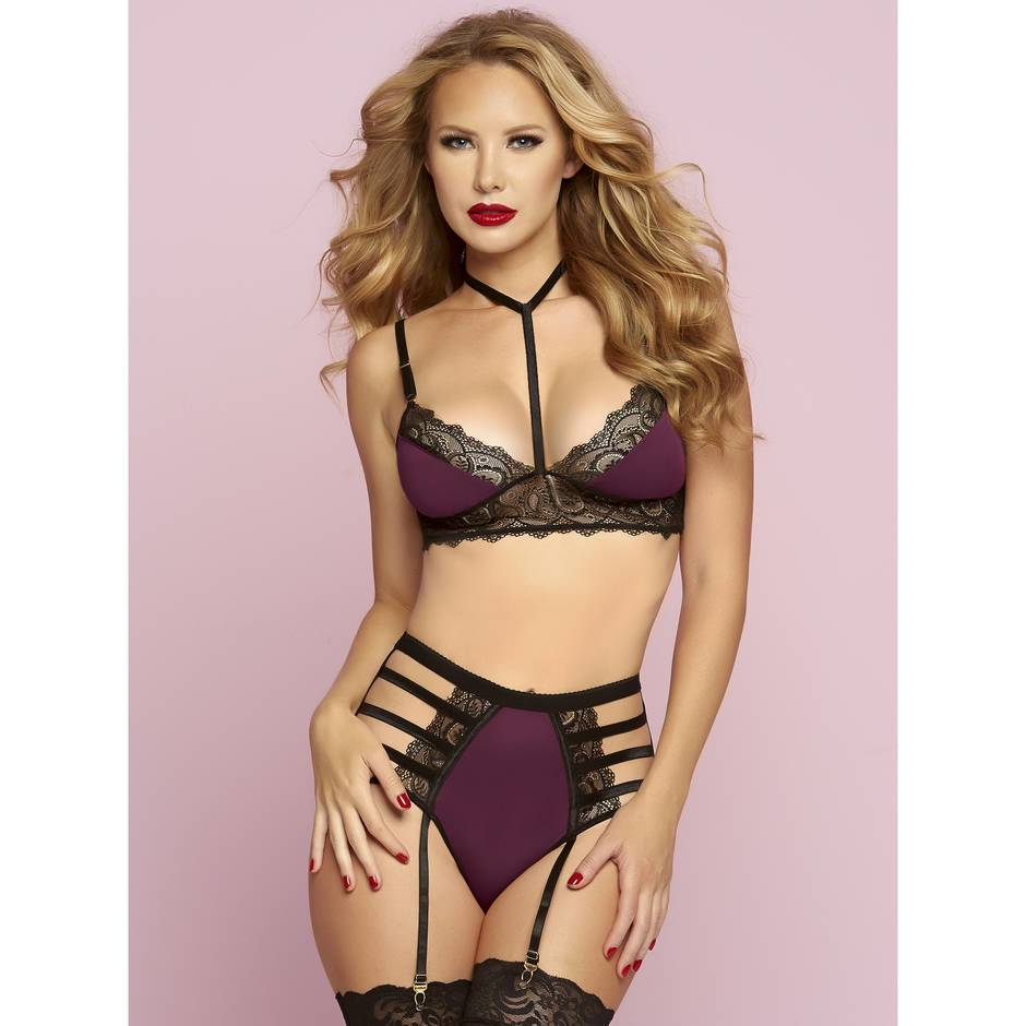 Seven 'til Midnight Cage Bra & High-Waisted Brief Set