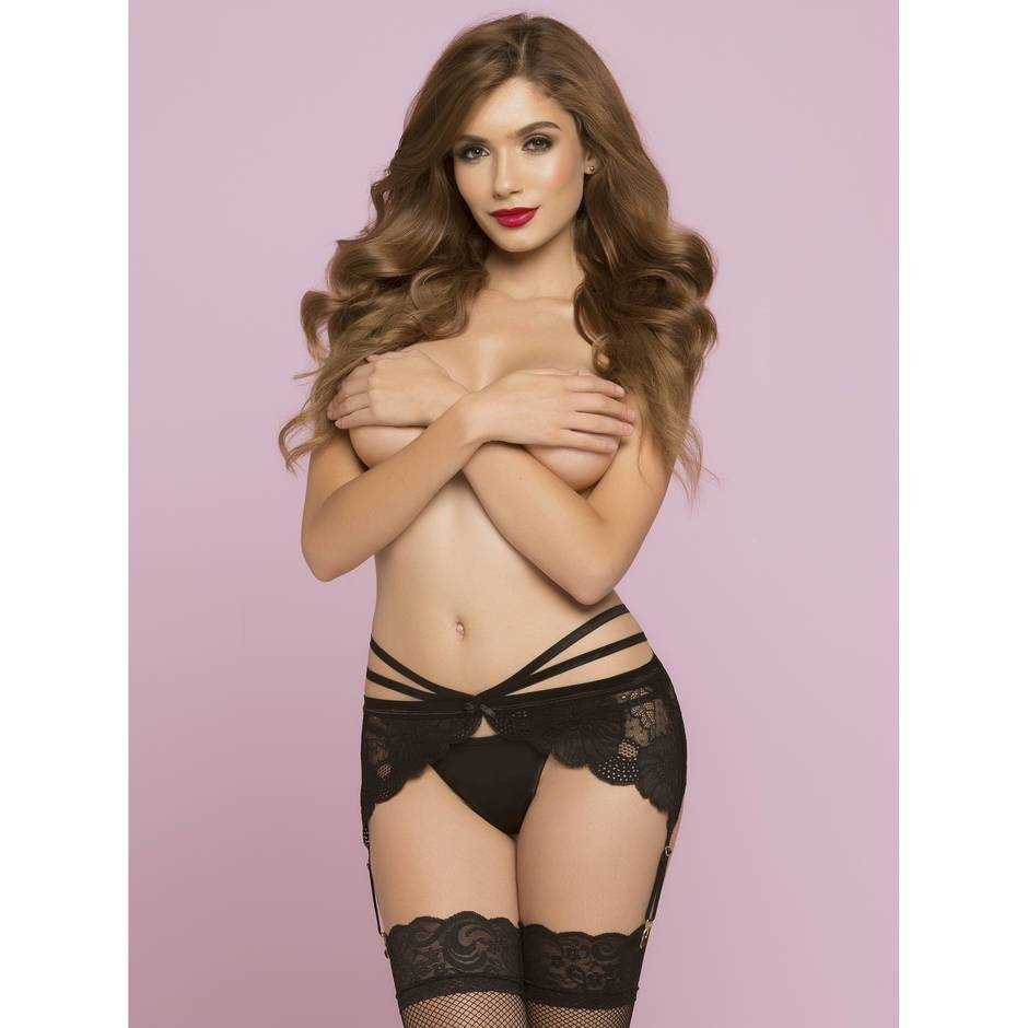 Seven 'til Midnight Hourglass Lace Suspender Belt
