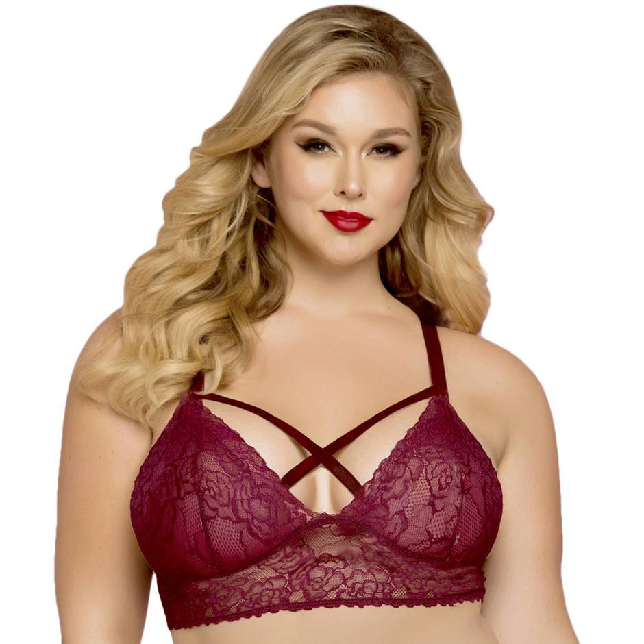 Seven 'til Midnight Plus Size Wine Lace Strappy Bralette