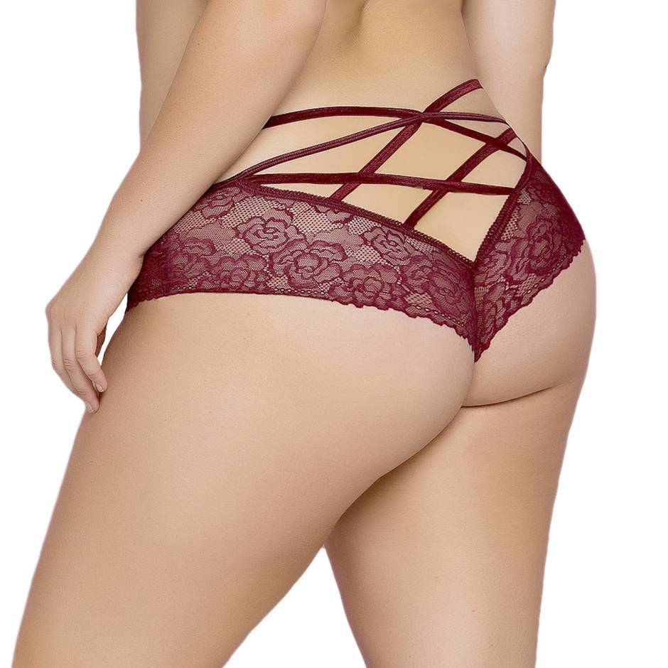 Seven 'til Midnight Plus Size Wine Cage-Back Knickers