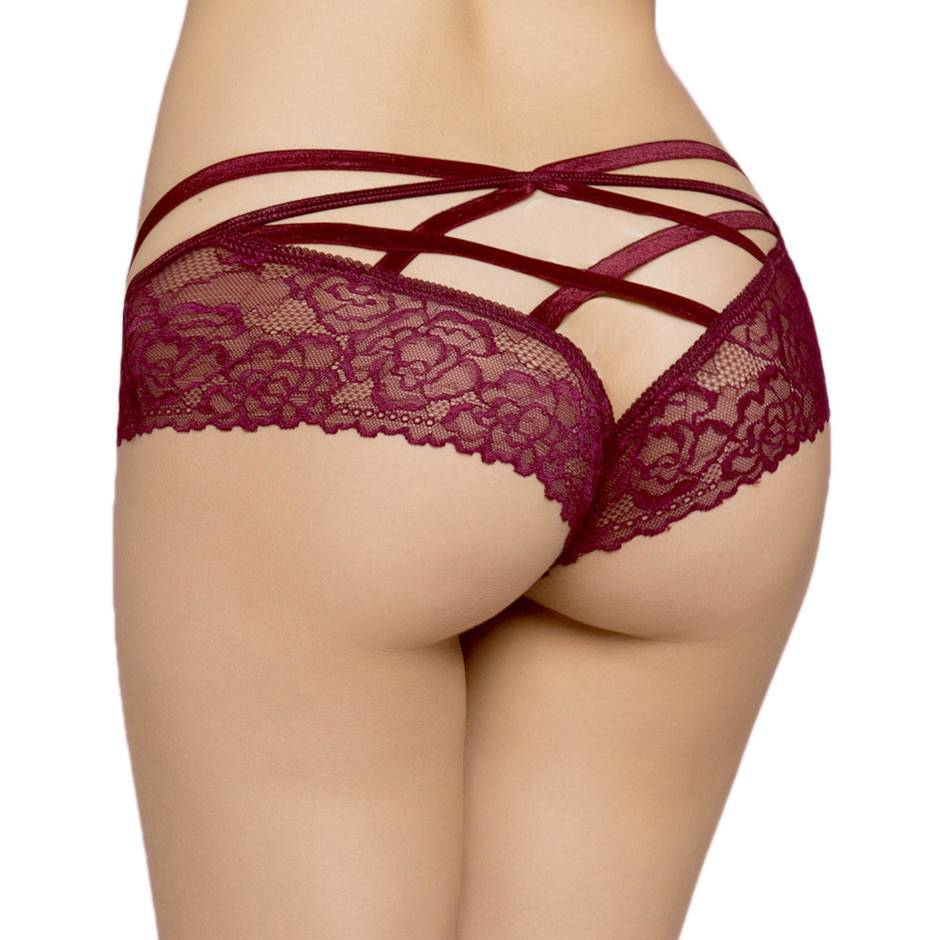 Seven 'til Midnight Wine Cage-Back Knickers