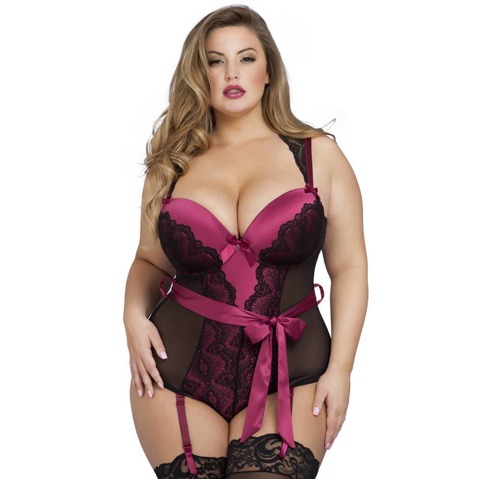 Body fendu décolleté plongeant grande taille Moonlight noir, Lovehoney