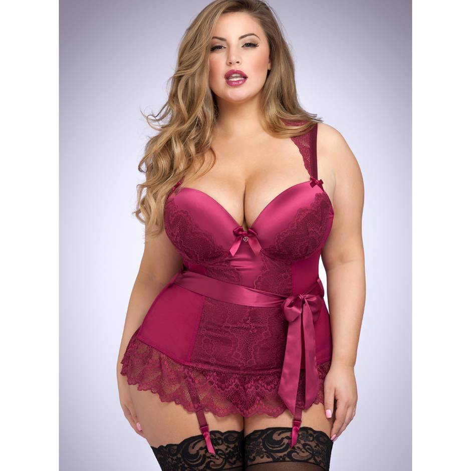 Lovehoney Plus Size Moonlight Wine Plunge Basque Set