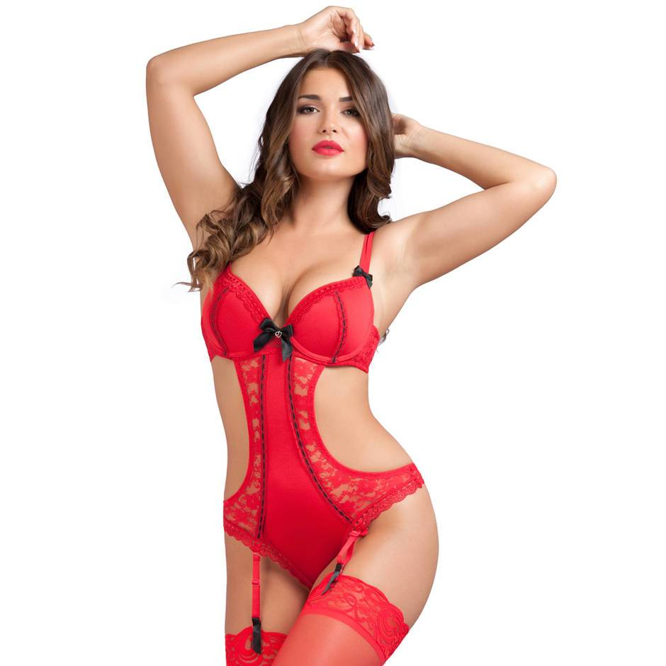 Lovehoney Seduce Me Red Push-Up Crotchless Cut-Out Teddy