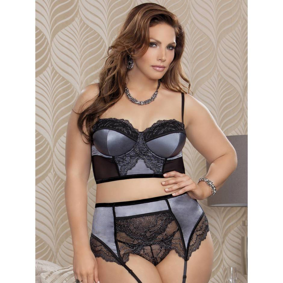 iCollection Plus Size Luxury Grey Longline Bra Set