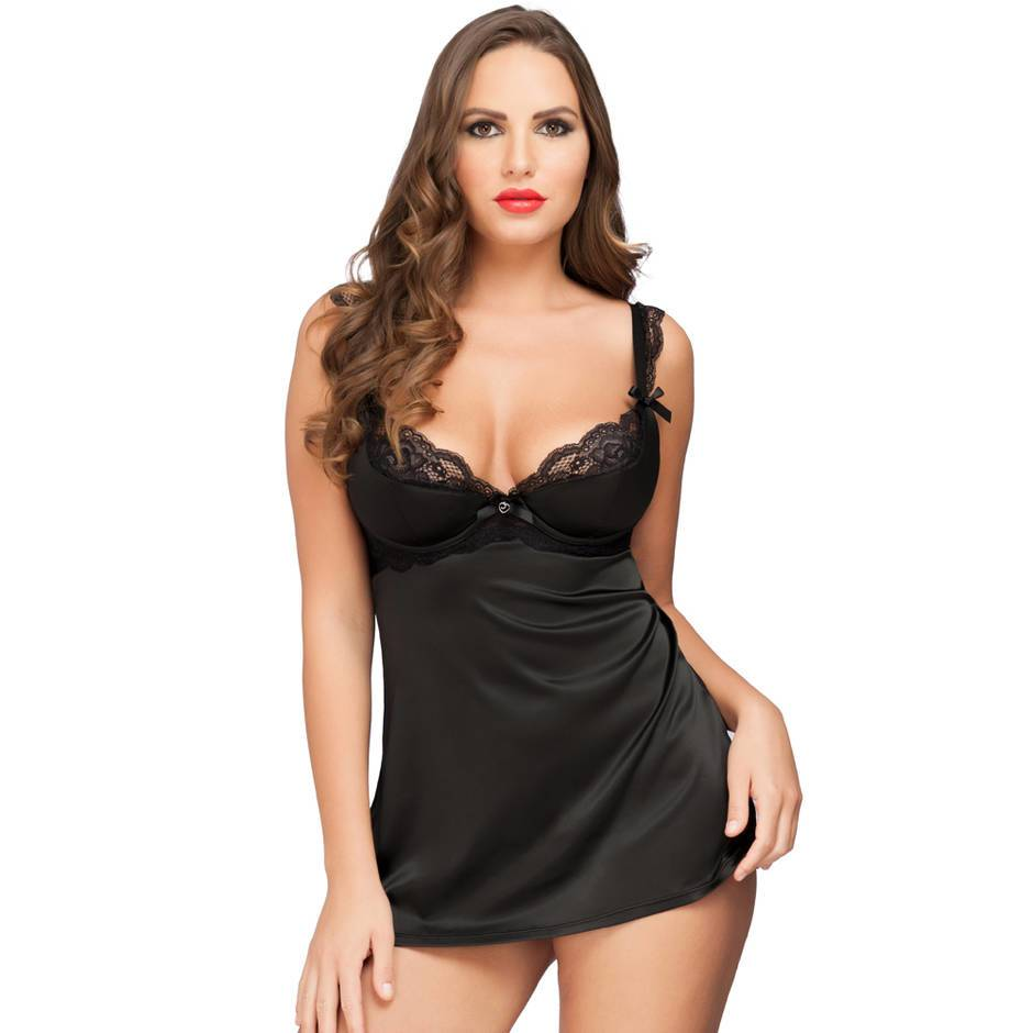 Lovehoney Treasure Me Black Underwired Babydoll Set
