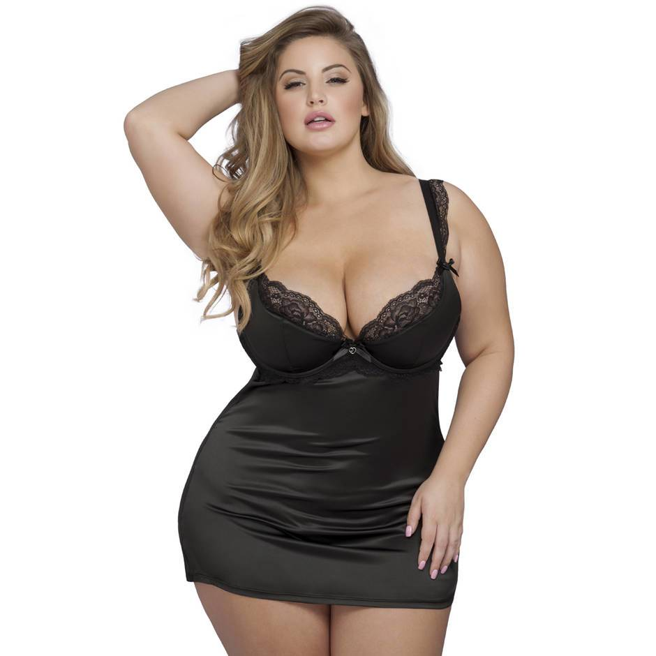 Ensemble nuisette armatures string grande taille Treasure Me noir, Lovehoney