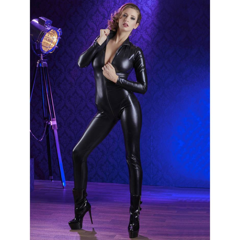 Long Sleeve Zip-Through Wet Look Catsuit