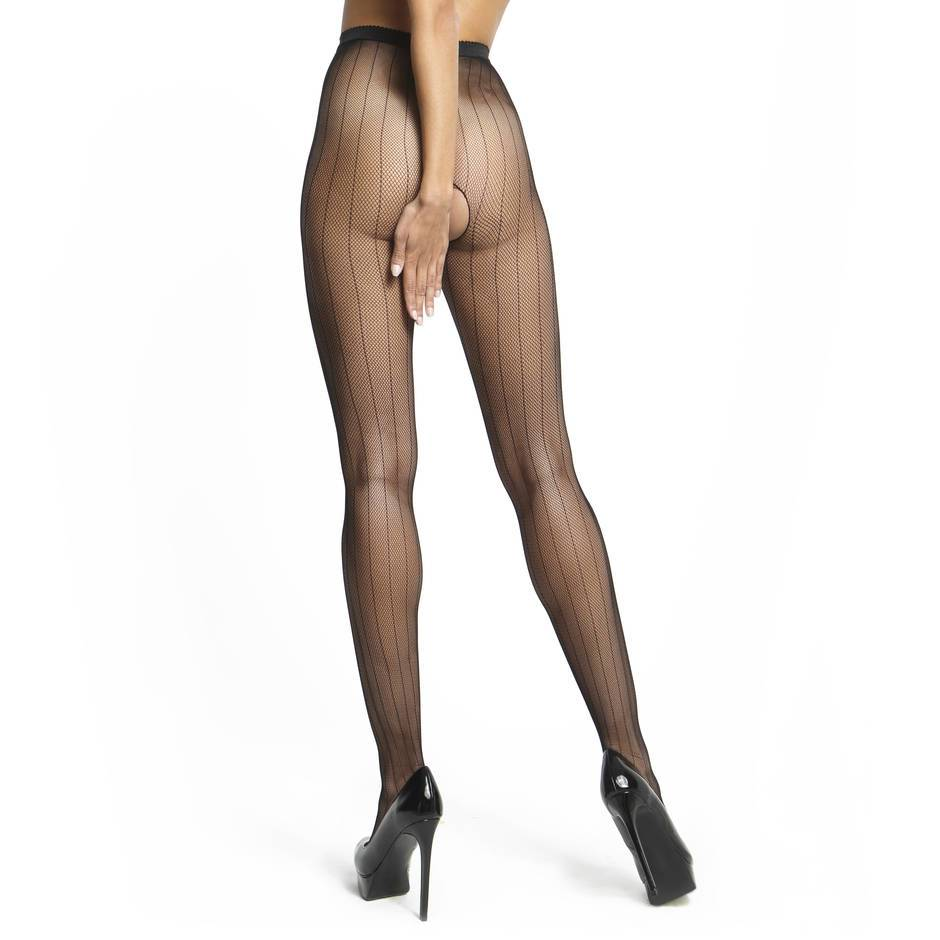 MissO Crotchless Stripe Fishnet Secretary Tights