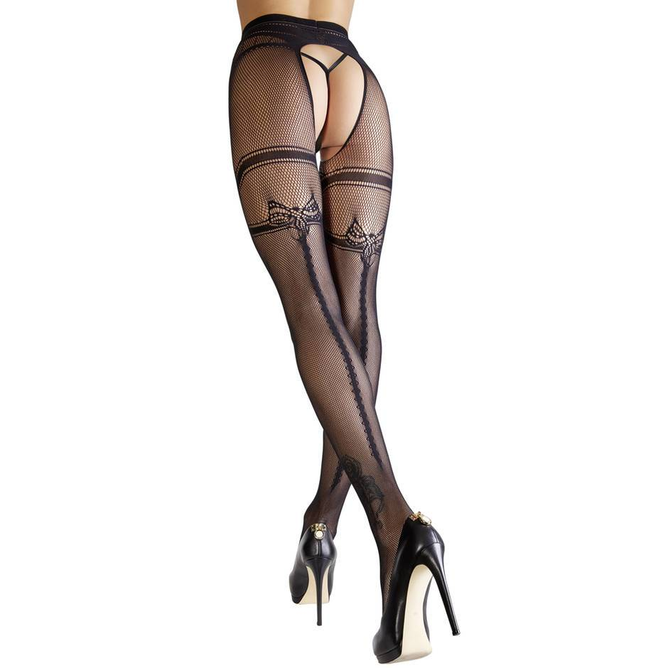 Cottelli Crotchless Back Seam Fishnet Tights