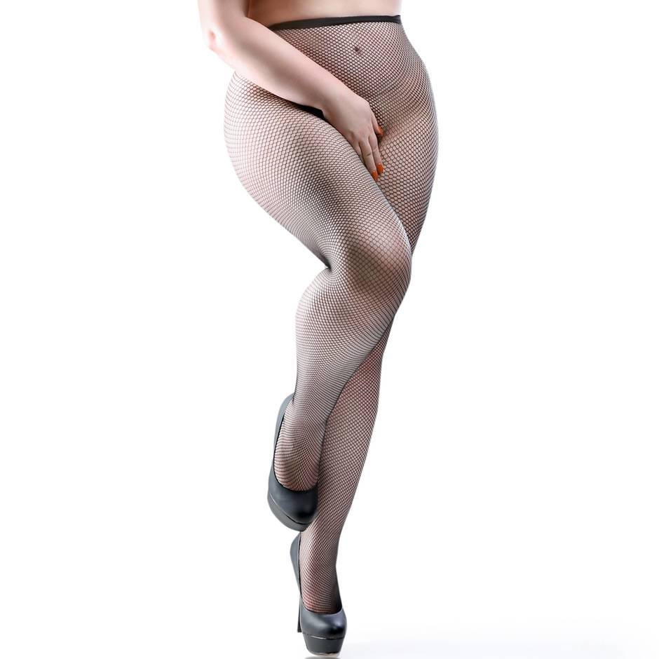 Miss Naughty Plus Size Crotchless Fishnet Tights