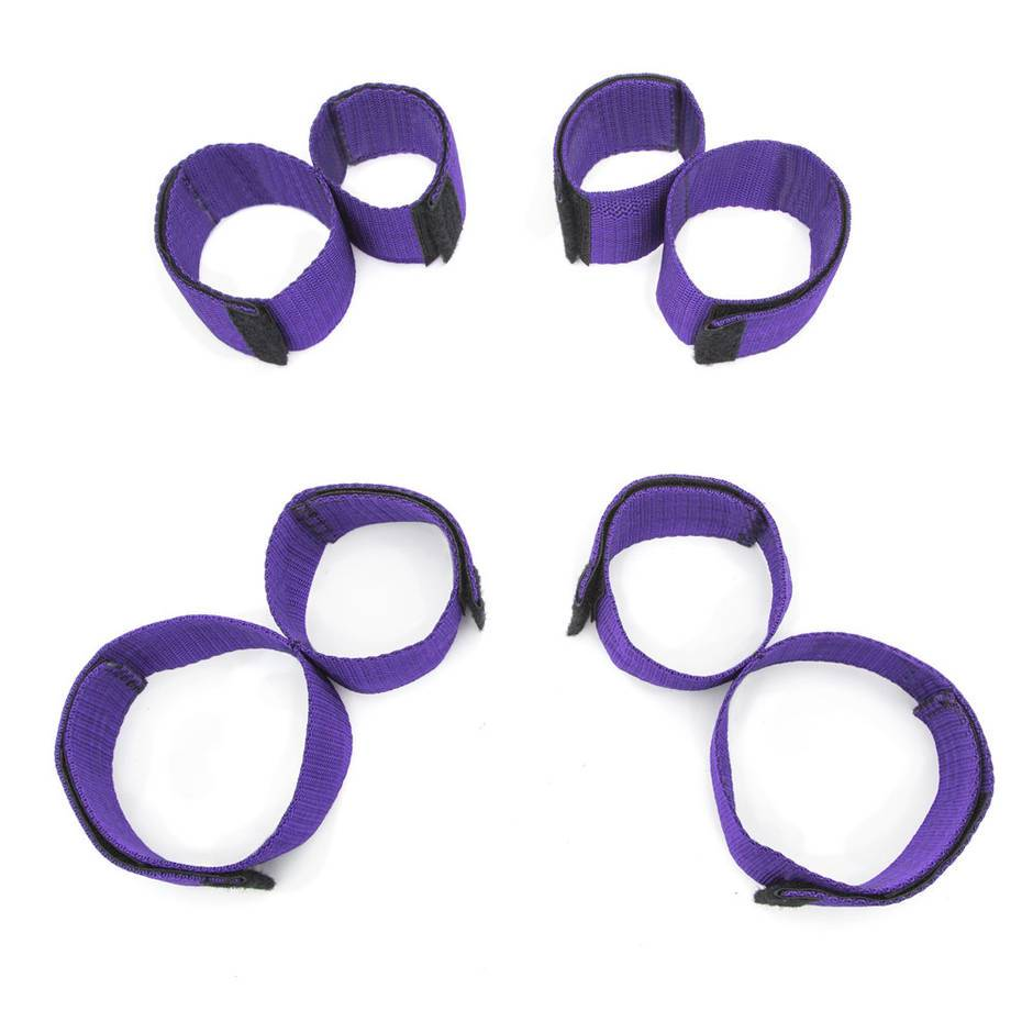 Purple Reins Wrist-to-Ankle and Arm-to-Thigh Restraint Set