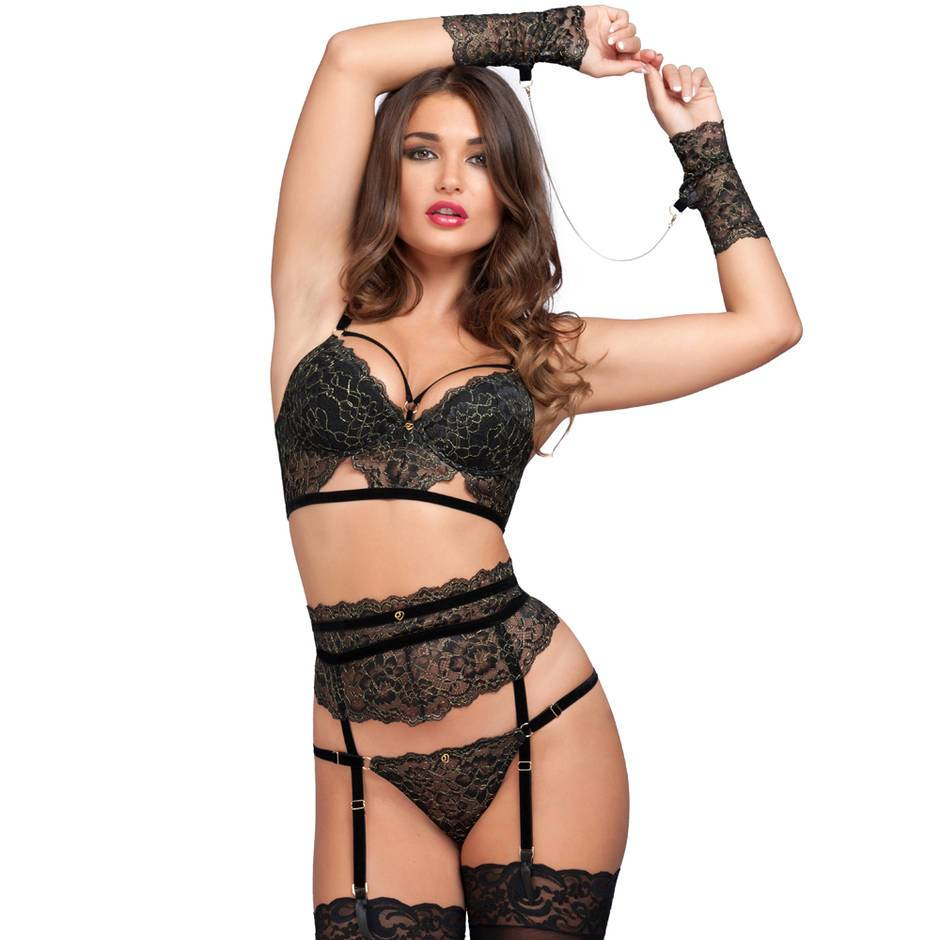 Lovehoney Elixir Luxury Black Lace Bra Set (4 Piece)