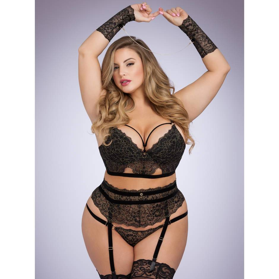 Lovehoney Plus Size Elixir Luxury Lace Bra Set with Wrist Cuffs
