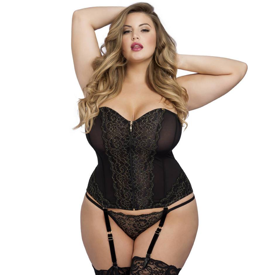 Lovehoney Plus Size Elixir Luxury Lace Full Length Corset Set