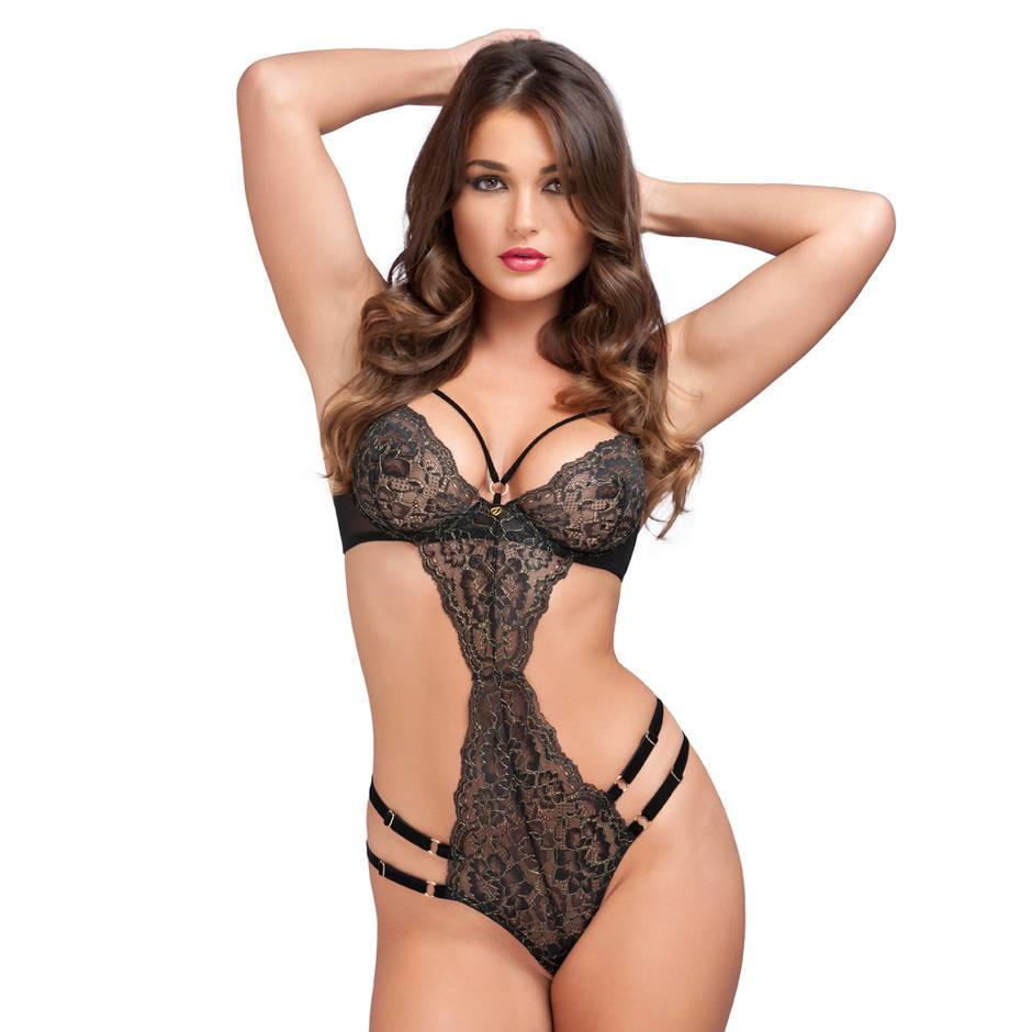 Lovehoney Elixir Luxury Black Lace Crotchless Cut-Out Teddy