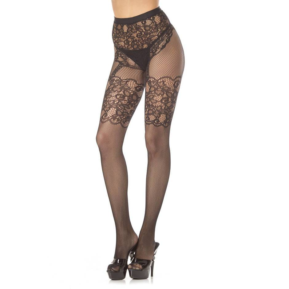 BeWicked Temperance Crotchless Floral Lace Pantyhose