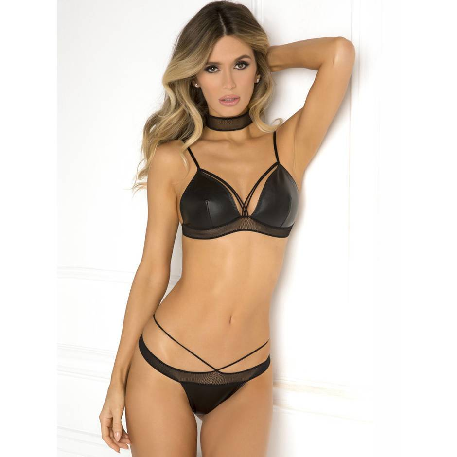 Rene Rofe Wet Look & Fishnet Bra Set with Choker