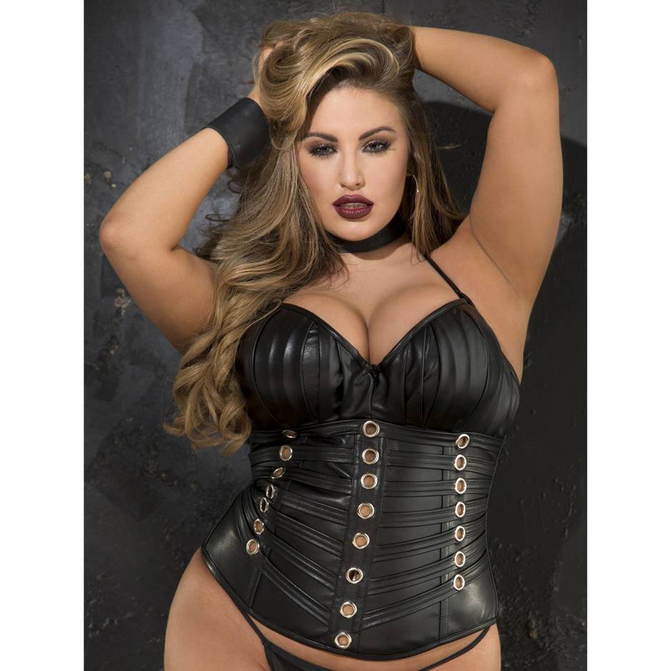 Shirley of Hollywood Temptress Plus Size Wet Look Push-Up Corset