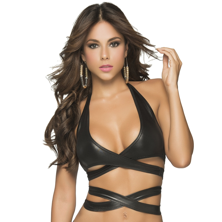 Mapale Wet Look Wrap Around Bra Top