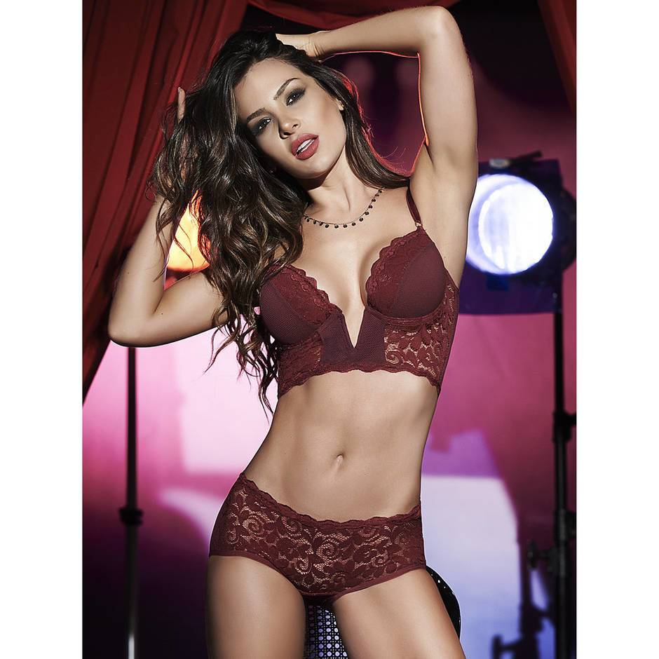 Mapale Longline Plunge Lace Bra and Shorts Set