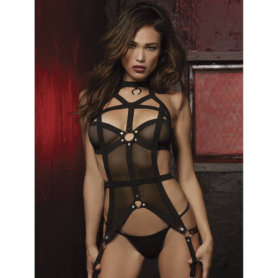 Dreamgirl Fetish Strappy Mesh Bustier Set
