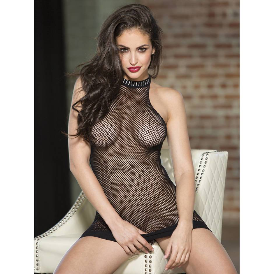 Shirley of Hollywood Fishnet Halter Mini Dress