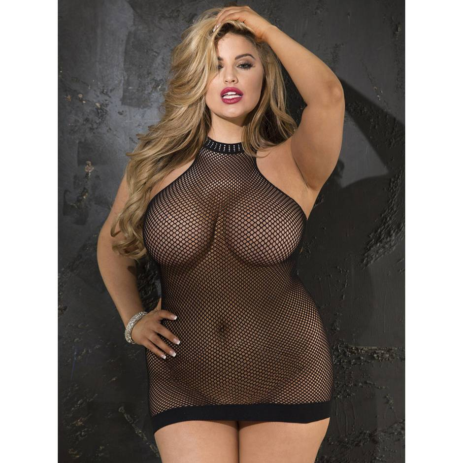 Shirley of Hollywood Plus Size Fishnet Halter Mini Dress Black