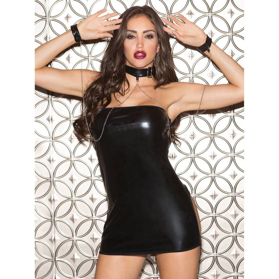 Shirley of Hollywood Wet Look Open Back Mini Dress Set