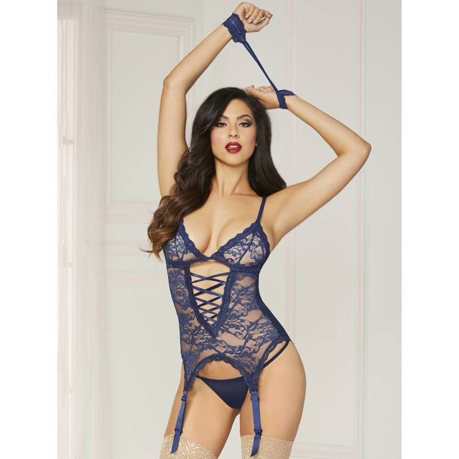 Seven 'til Midnight Midnight Affair Blue Lace Basque Set