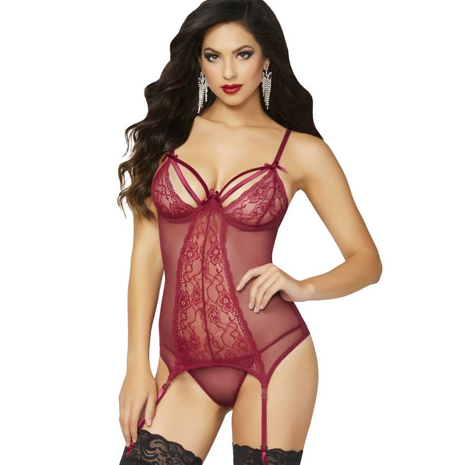 Seven 'til Midnight Double Dare Burgundy Basque Set