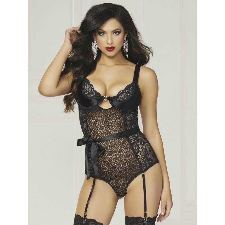 Seven 'til Midnight Underwired Black Teddy