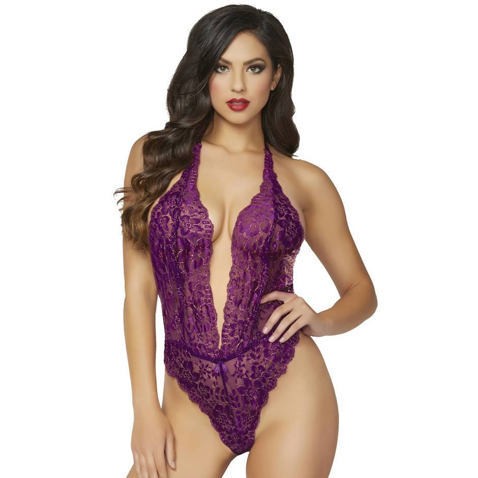 Seven 'til Midnight Sheer Purple Lace Halter Body