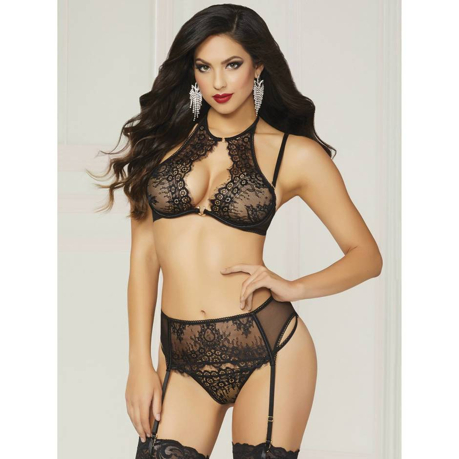 Seven 'til Midnight Black Underwired Halterneck Bra and Suspender Set