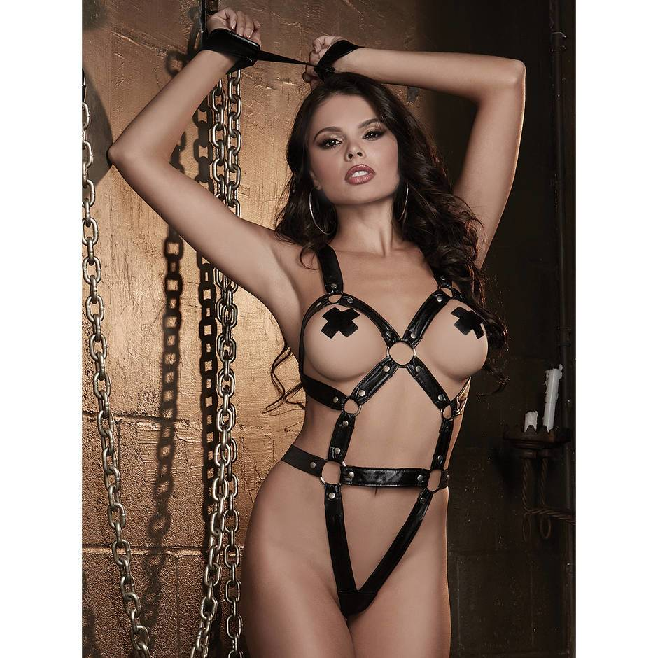 Dreamgirl Fetish Faux Leather Studded Body Harness & Cuffs