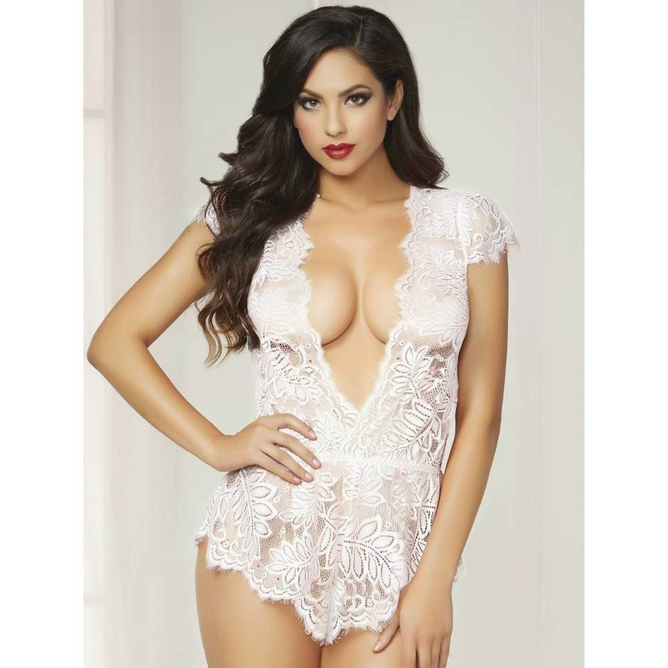 Seven 'til Midnight Plunge Cap Sleeve White Lace Teddy