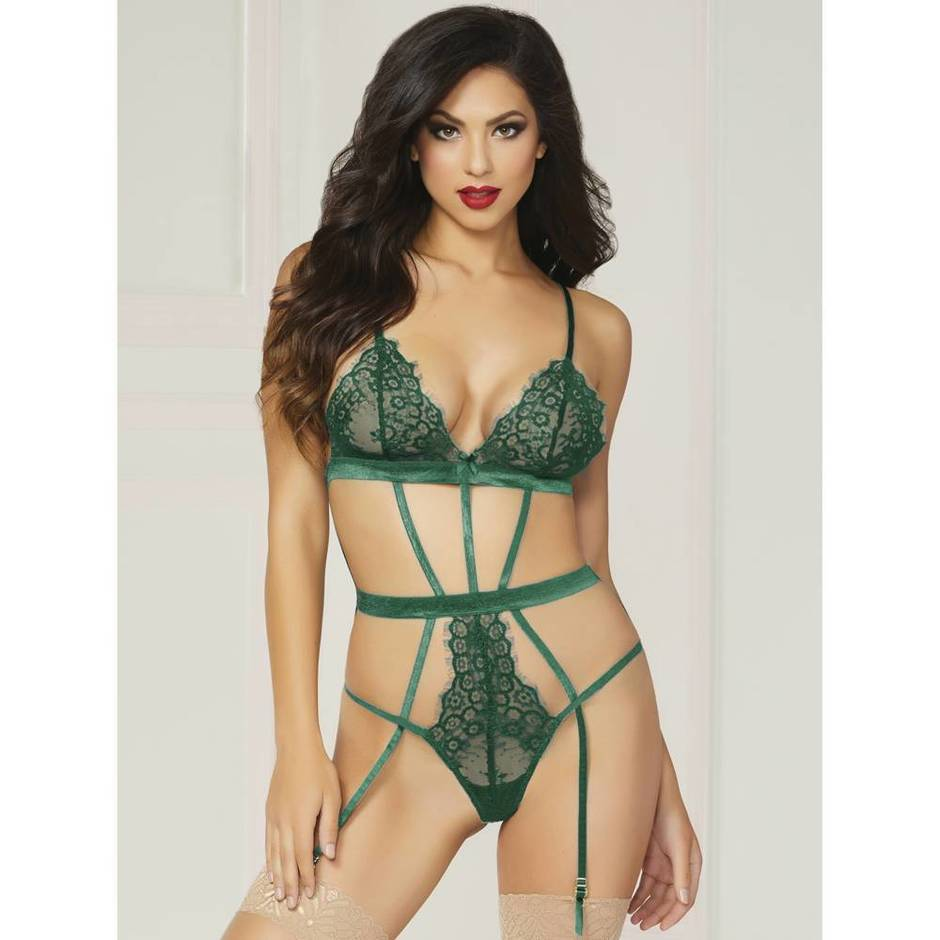 Seven 'til Midnight Strappy Satin and Lace Teddy Set