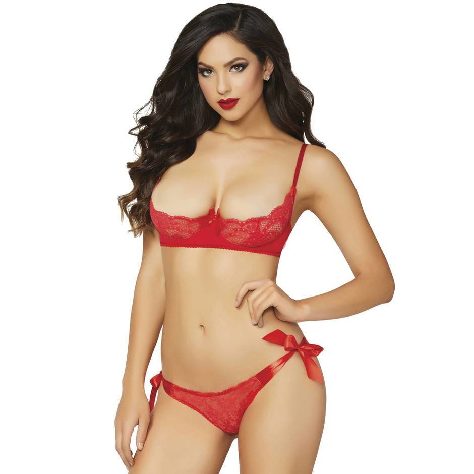 Seven 'til Midnight Half Cup Bra and Tie Side Brief Set