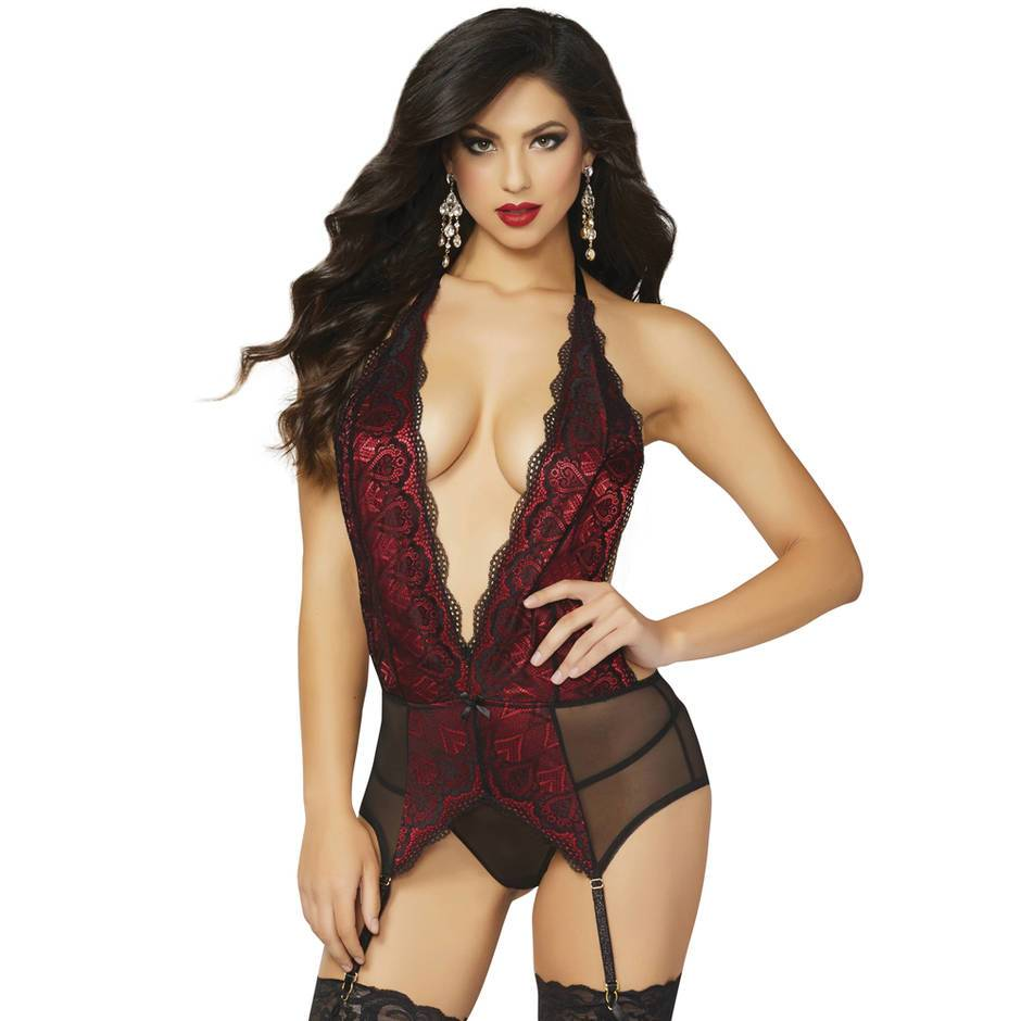 Seven 'til Midnight Deep Plunge Suspender Chemise Set