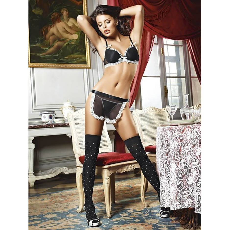 French Maid Bra, Panties and Apron Set
