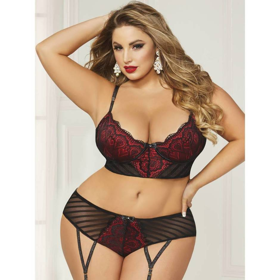 Seven 'til Midnight Plus Size Satin and Stripe Mesh Longline Bra Set