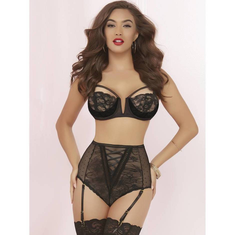 Seven 'til Midnight Lace and Polka Dot Mesh Bra Set