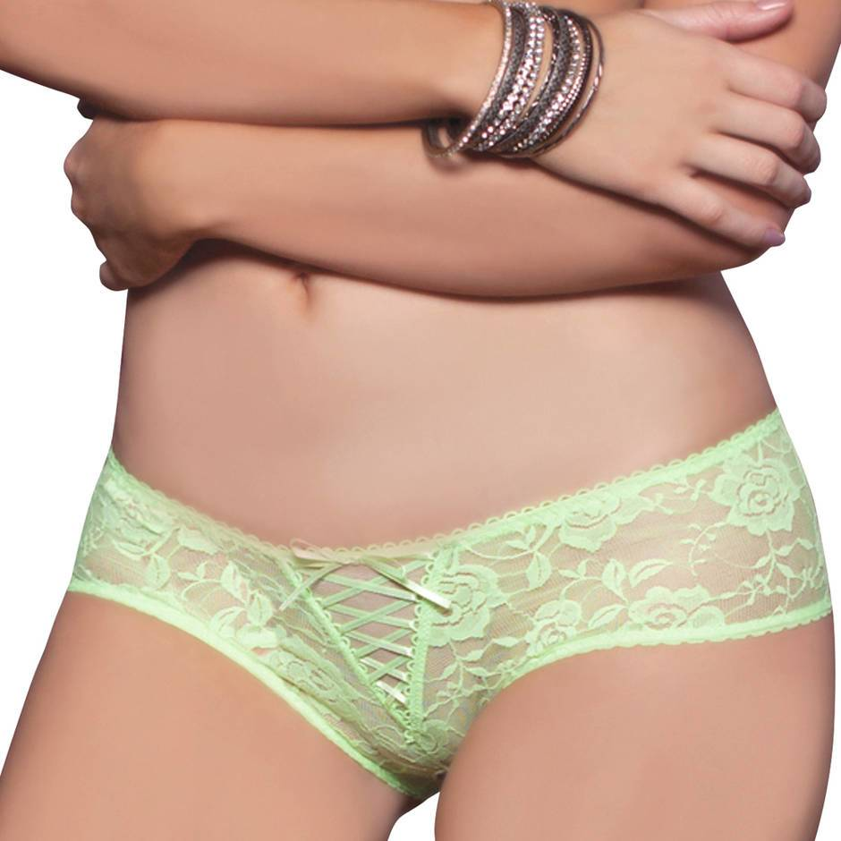 Seven 'til Midnight Crotchless Ribbon Trim Lace Panties