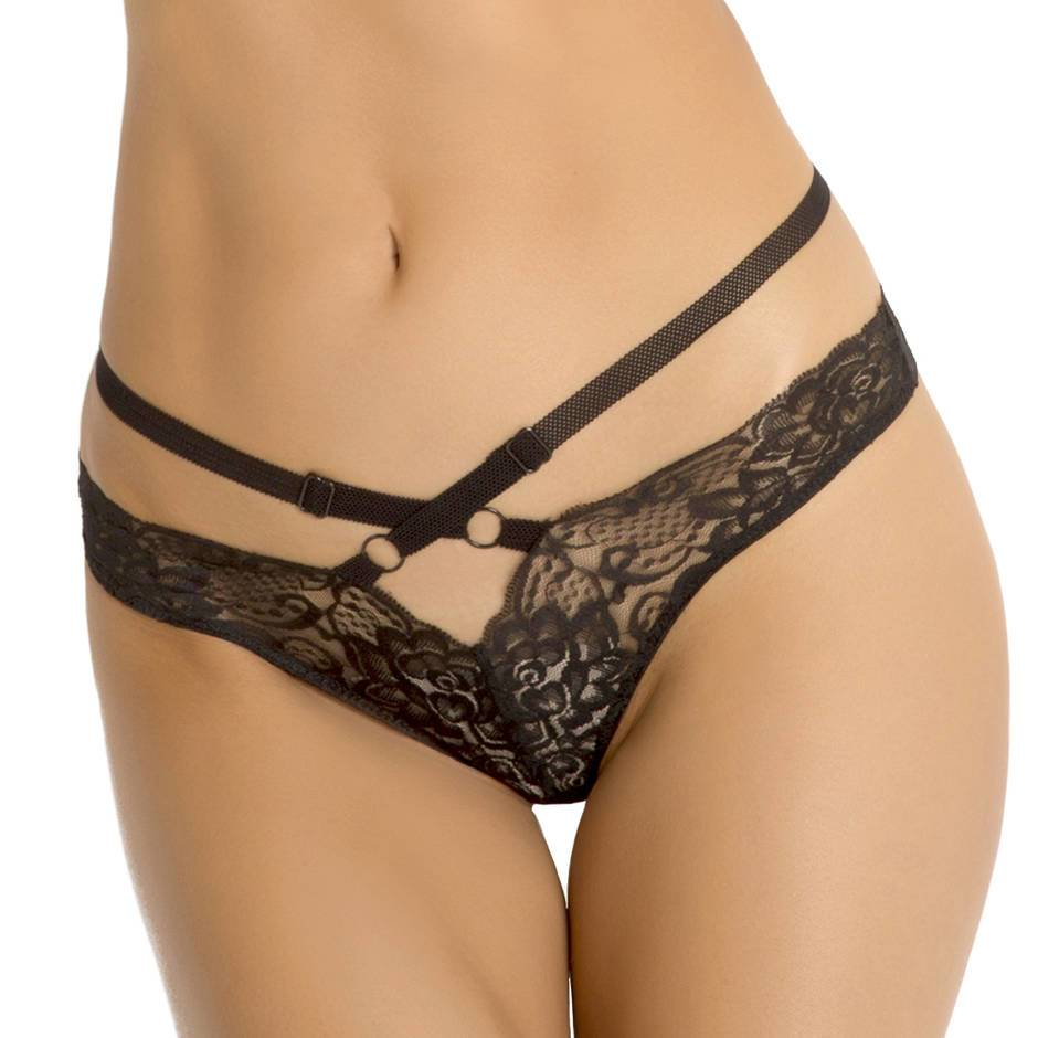 Rene Rofe Crotchless Lace Strappy Tanga Brief
