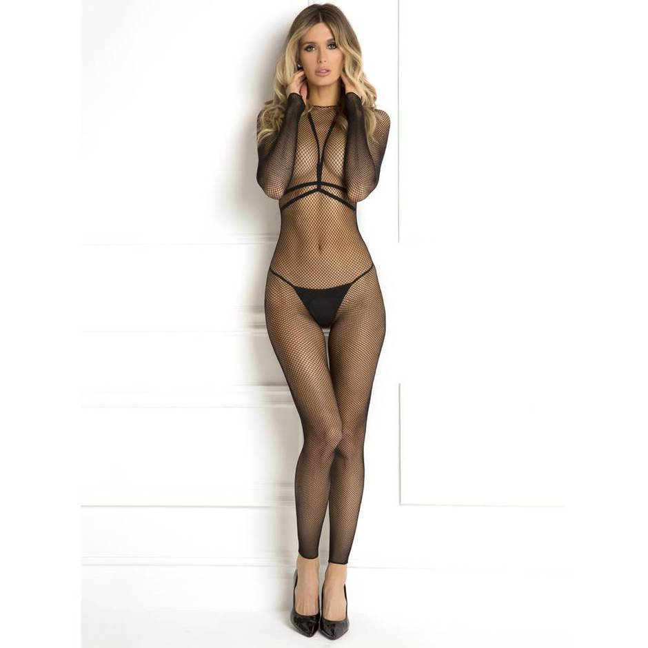 Rene Rofe Crotchless Fishnet Harness Bodystocking Set