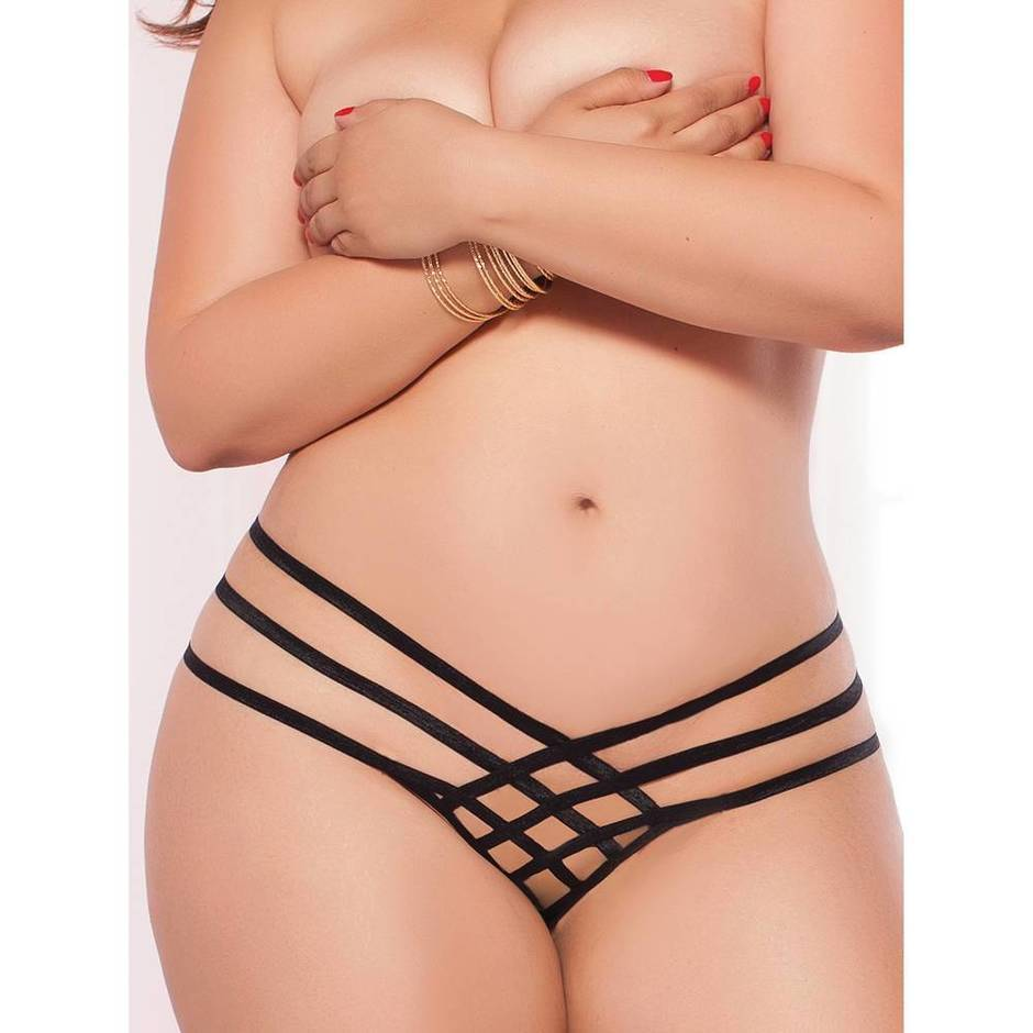 Seven 'til Midnight Plus Size Strappy Cage Crotchless Thong