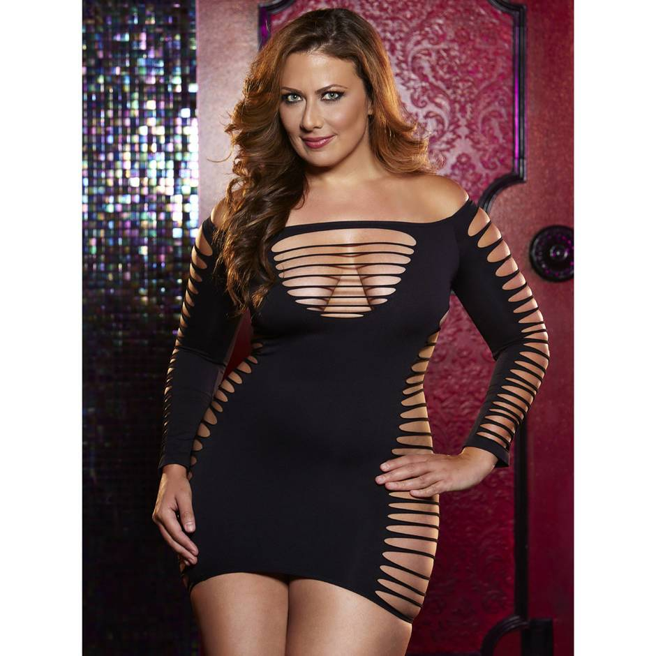 Lapdance Plus Size Slash Detail Mini Dress